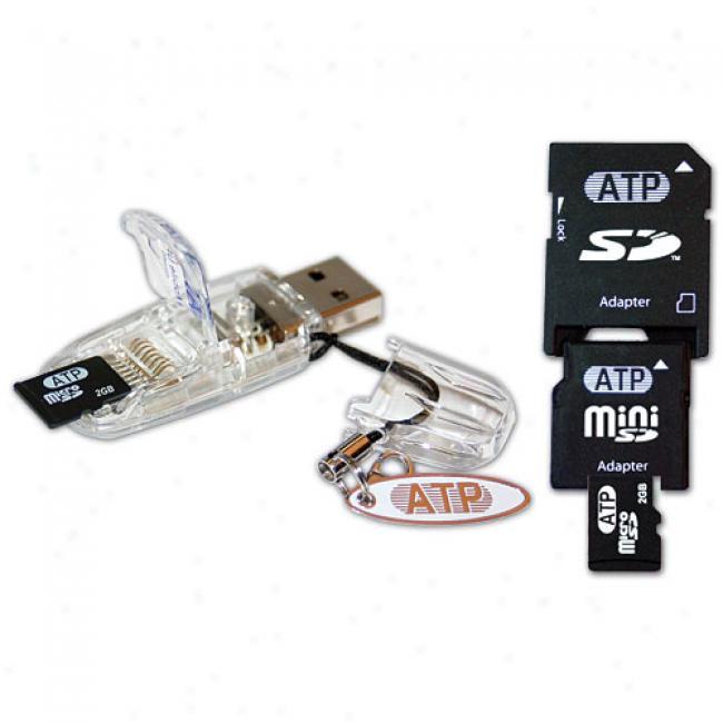 Atp 2 Gb Sd Trio Professional Plus: Microsd, Minisd, & Sd Usb Adapter/reader