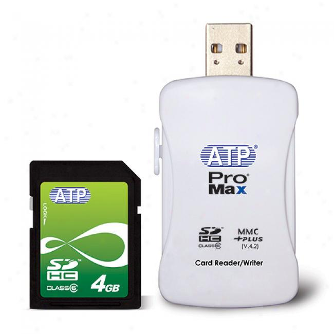 Atp 4 Gb 150x Sdhc Memory Card W/ Usb 2.0 Reader