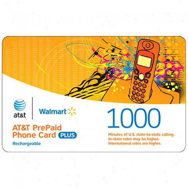 At&t 1000-minutes Us & International Rechargeable Pre-paid Phone Card