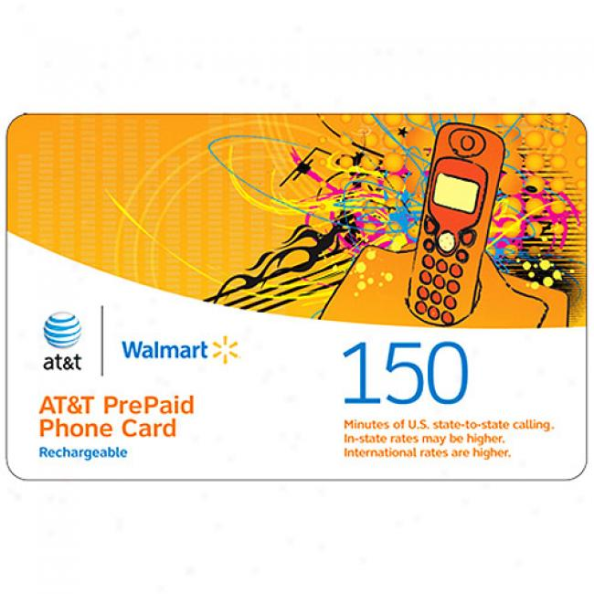 At&t 150-minutes Us & International Rechargeable Pre-paid Phone Card