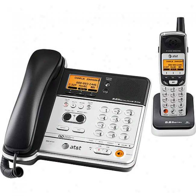 At&t 2 Line Corded/cordless Phone Upon Caller Id And Answering Systrm