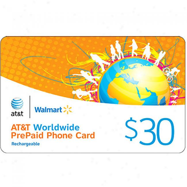 At&t $30 Worldwide Rechargsable Prepaid Phone Card