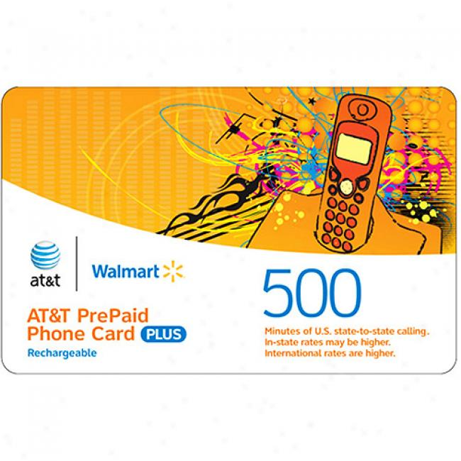 At&t 500-minutes Us & International Rechargeable Pre-paid Phone Card