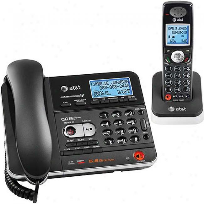 At&t 5.8d Corded/cordless Phone Bundle With Caller Id And Answerign System