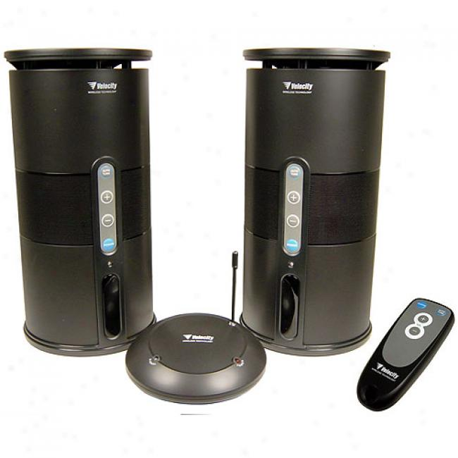 Audio Unlimtied 900mhz Wireless Speakers With Remote, Pair
