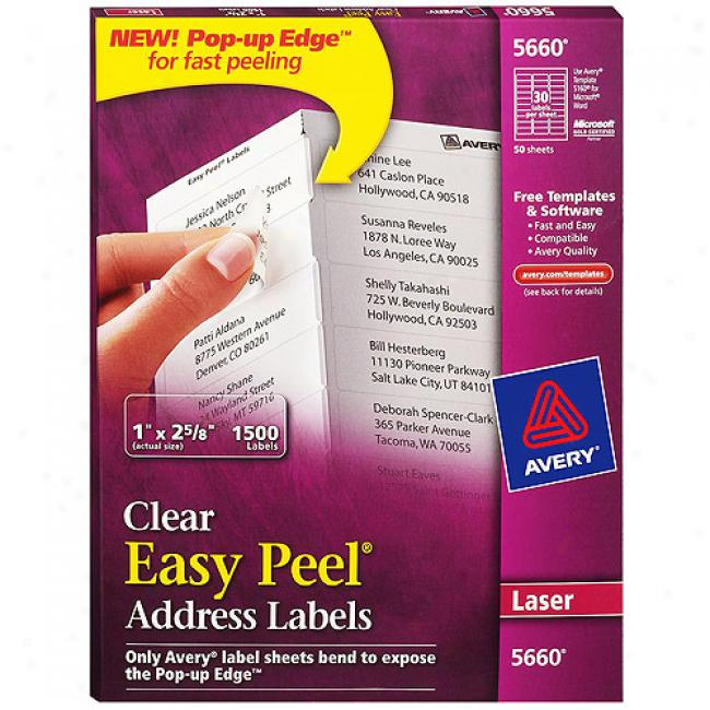 Avery Ewsy Peel Clear Mailing Labels For Laser Printers, 1