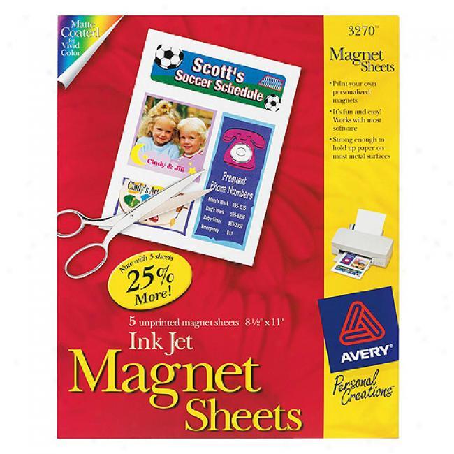 Avery Inkjet Magnet Sheets, 5-paci