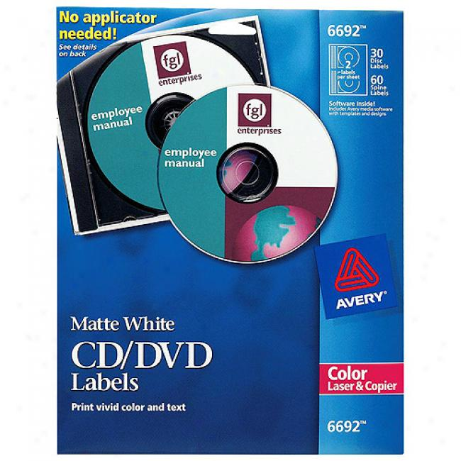 Avery Matte Of a ~ color Cd Labels For Color Laser Printers And Copiers, 30 Disc Labels And 60 Spine Labels