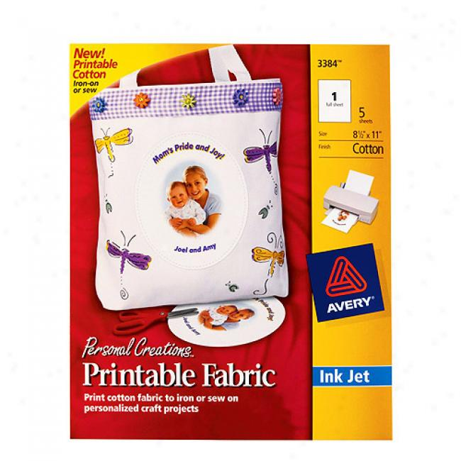 Avery Printable Fabric For Inkjet Printers, 5-pack