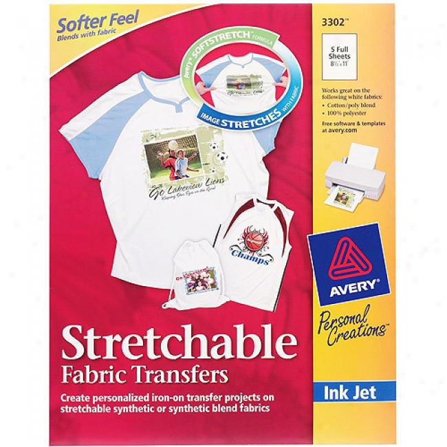 Avery Stretchable Fabric Transfers On account of Inkjet Printers, 5-pack
