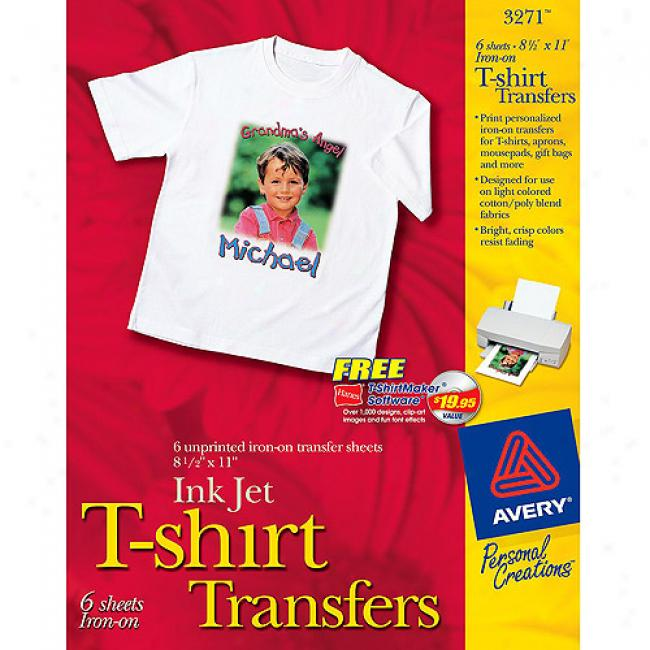 Avery T-shirt Transfers For Inkjet Printers, 6-pack