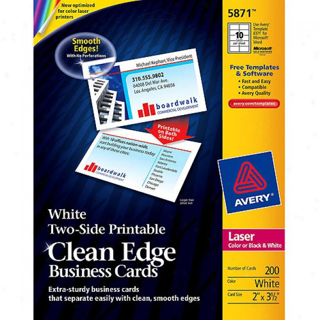 Avery Two-side Printable Clean Edge Calling Cards For Laser Printers, White, Pack Of 200
