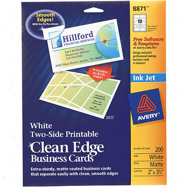 Avedy Two-side Printable Clean Edge Business Cards For Inkjet Printers, Of a ~ color, Matte, Pack Of 200
