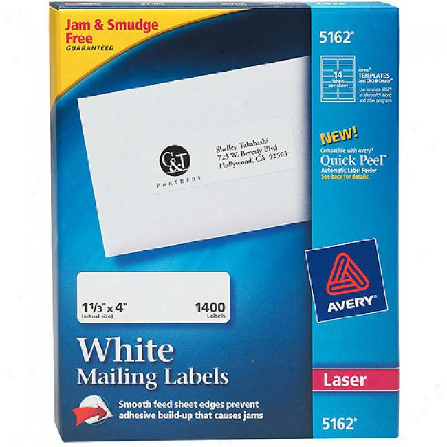 Avery White Address Labels For Laser Printers, 1-1/3
