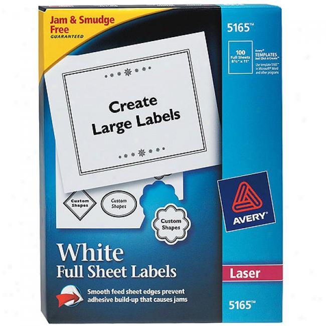 Avery White Full-sheet Shipping Labels For Laser Printers, 8-1/2