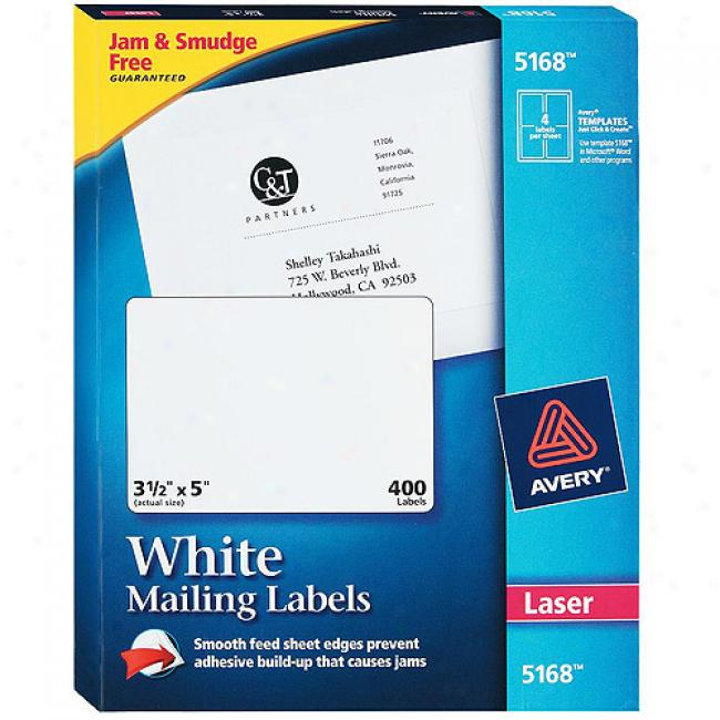 Avery White Shipping Labels For Laser Printers, 3-1/2