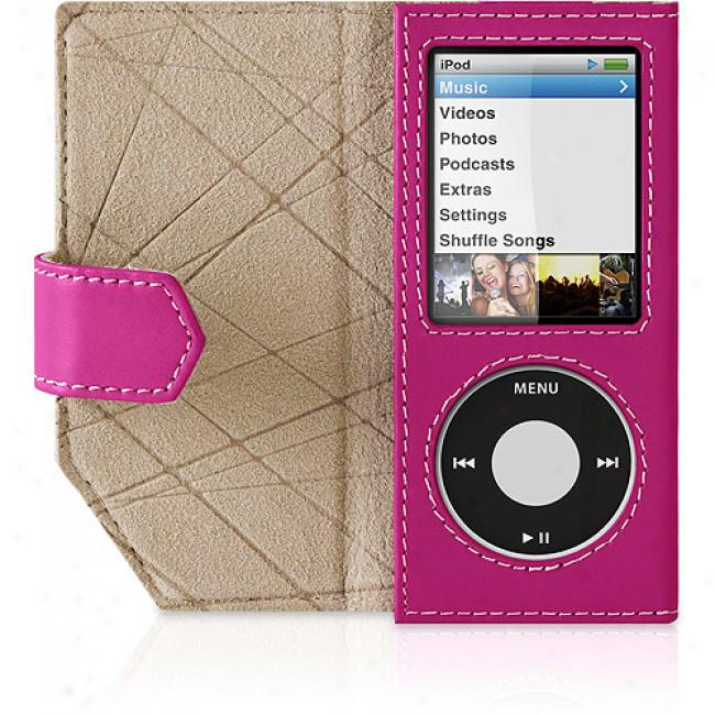 Belkin Ipod Nano 4th Generation Leather Folip, Pink