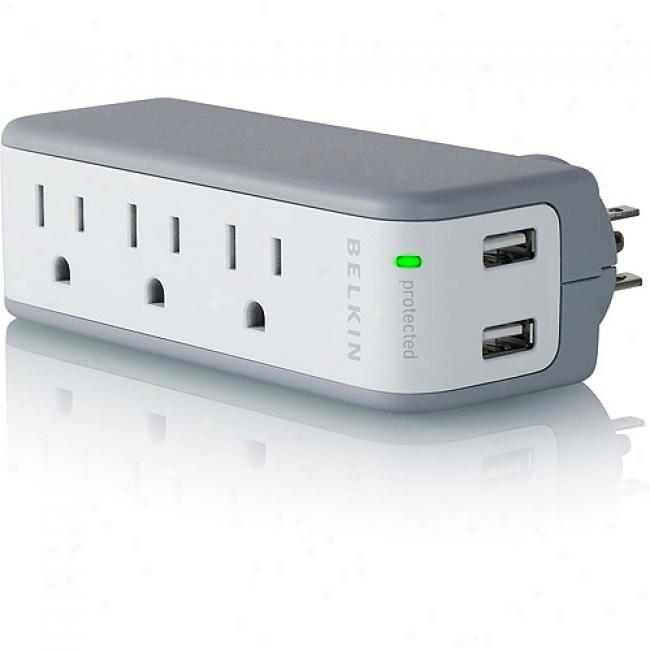 Belkin Mini Notebook Surge Portector With Built-in Usb Charger