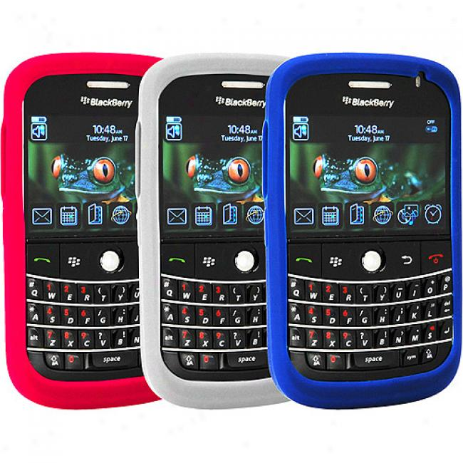 Blackberry Rubber Flay Case Tri-pack For Bold 9000 - Blue, Gray And Red