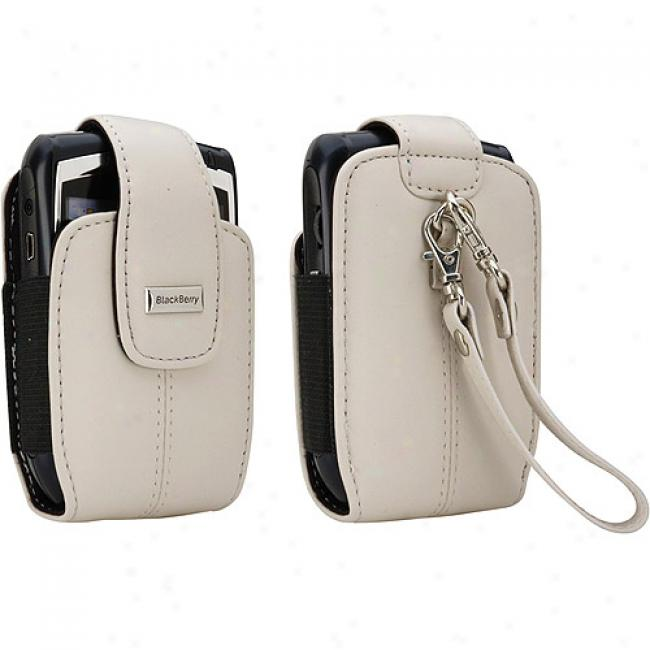 Blackberry Vertical Tote With Wrist Strap For 8700, 8800 Series - Pearl White Leather