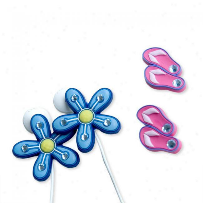 Budclicks Pink Sandals & Blue Pinflowers, 2-pack
