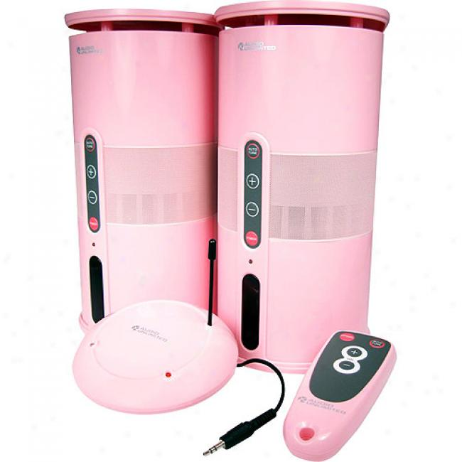 Cables Un1imited Pink 90mhz Wireless Computerspeakers With Remote, Pair