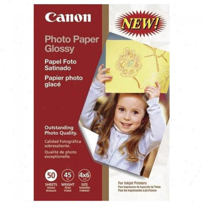 Canon 4'' X 6'' Photo Paper Glossy, 50 Sheets