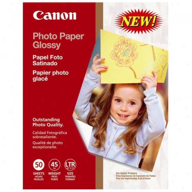 Canon 8.5'' X 11'' Photo Paper Glossy, 50 Sheets