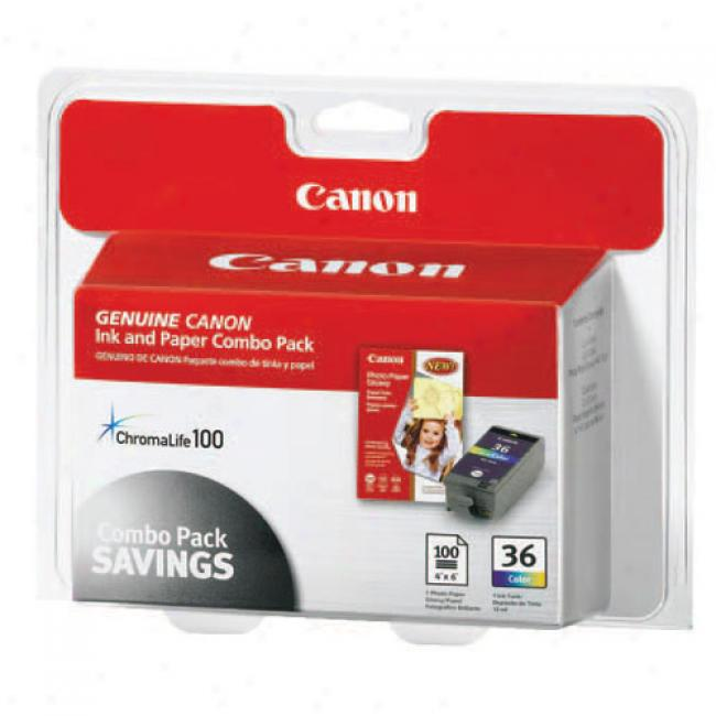 Canon Cli-36 Printer Cartridge W/high Gloss Photo Paper, 100-pack