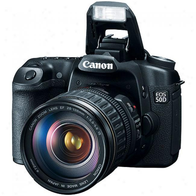 Canon Eos 50d Black 15.1mp Digital Slr With 28-135-is Lens, 3