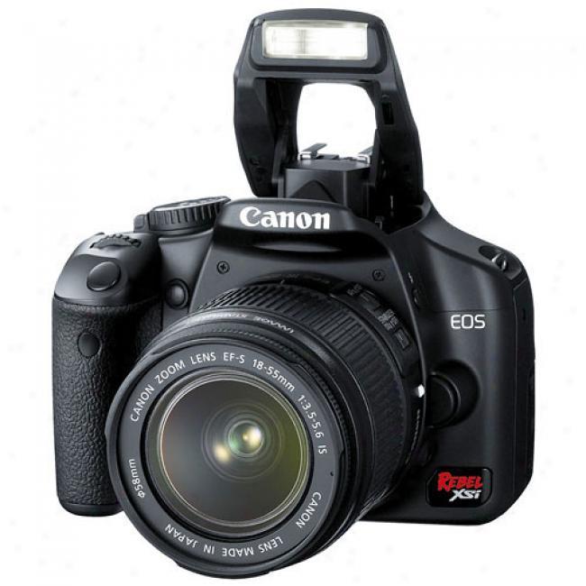 Canon Eos Digital Rebel Xsi Black ~ 12.2 Mp Digital Slr Camera Kit W/ 18-55mm Lens
