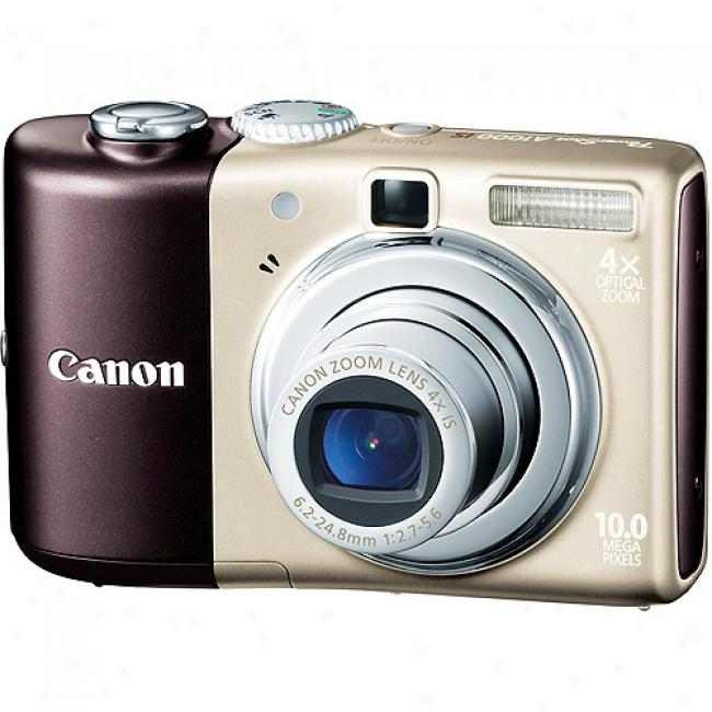 Canon Powershot A1000-is Brown 10mp Digiyal Camera With 4x Optical Zoom, 2.5