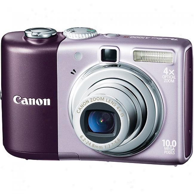Canon Powershot A1000-is Purple 10mp Digital Camera With 4x Optical Zoom, 2.5