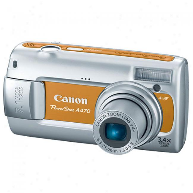 Canon Powershot A470 Copper ~ 7.1 Mp Digital Camera W/ 3.4x Optical Zoom & Face Detection