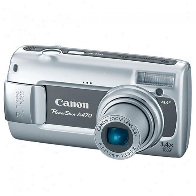 Canon Powershot A470 Grey ~ 7.1 Mp Digital Camera W/ 3.4x Optical Zoom & Face Detection