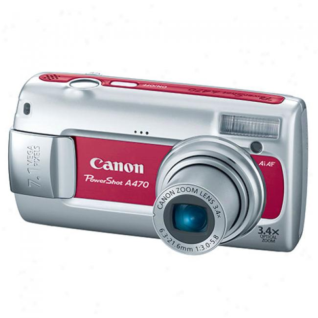 Canon Powershot A470 Red 7.1 Mp Digital Camera W/ 3.4x Optical Zoom & Face Detection