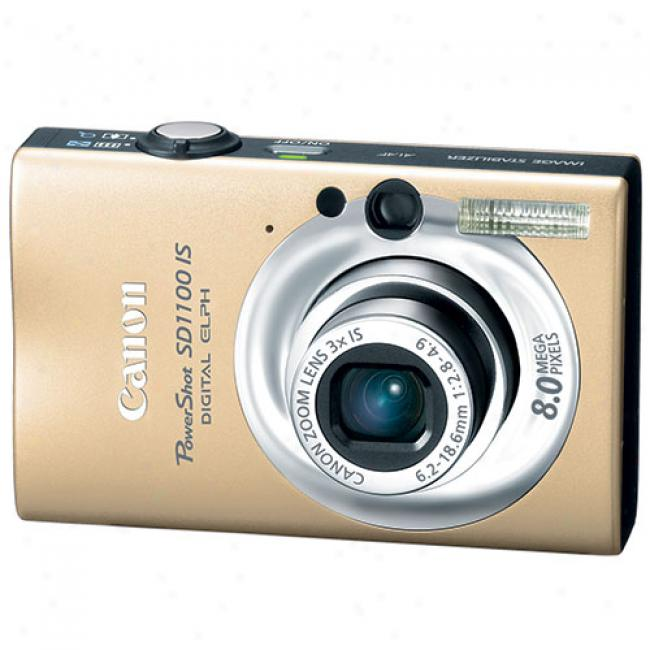 Canon Powershot Sd1100-is Gold 8 Mp Digital Elph Camera W/ 3x Optical Zoom