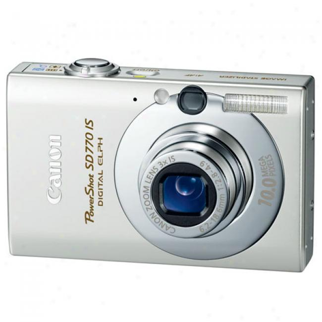 Canon Powershot Sd770-is Silver 10 Mp Digital Camera W/ 3x Optical Zoom 2.5