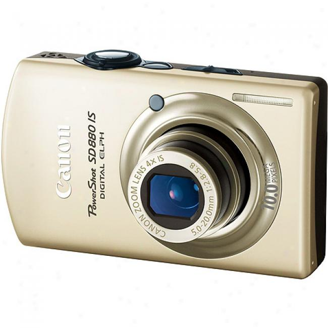 Canon Powersht Sd880-is Gold 10mp Digital Camera 4x Optical Zoom & 3