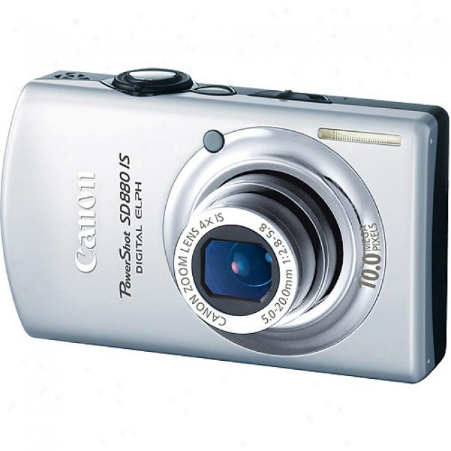 aCnon Powershot Sd880-is Silver 10mp Digital Camera 4x Optical Zoom & 3