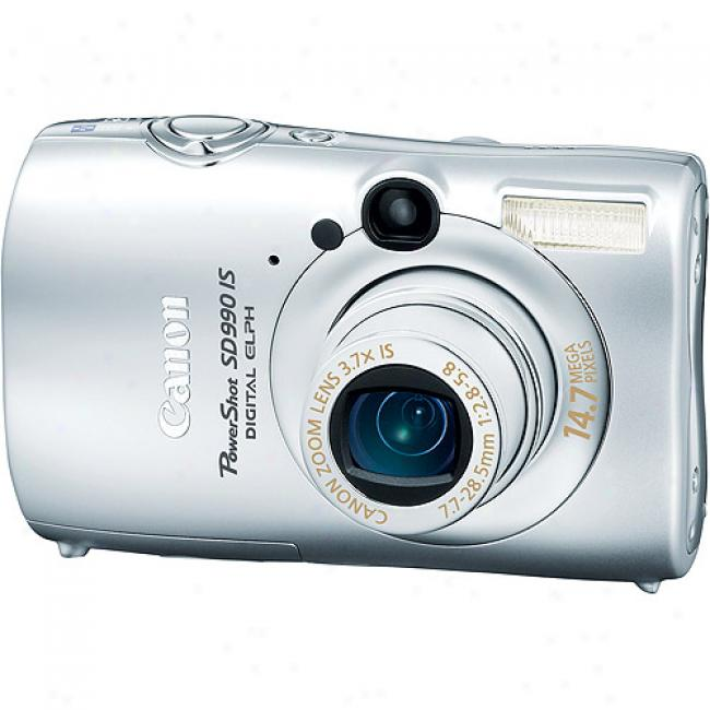 Canon Powershot Sd990-is Silver 14.7mp Digital Camera 3.7x Optical Zoom & 2.5