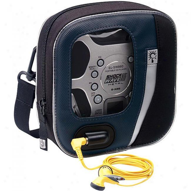 Case Logic Blue/black Nylon Portable Cd Player Case