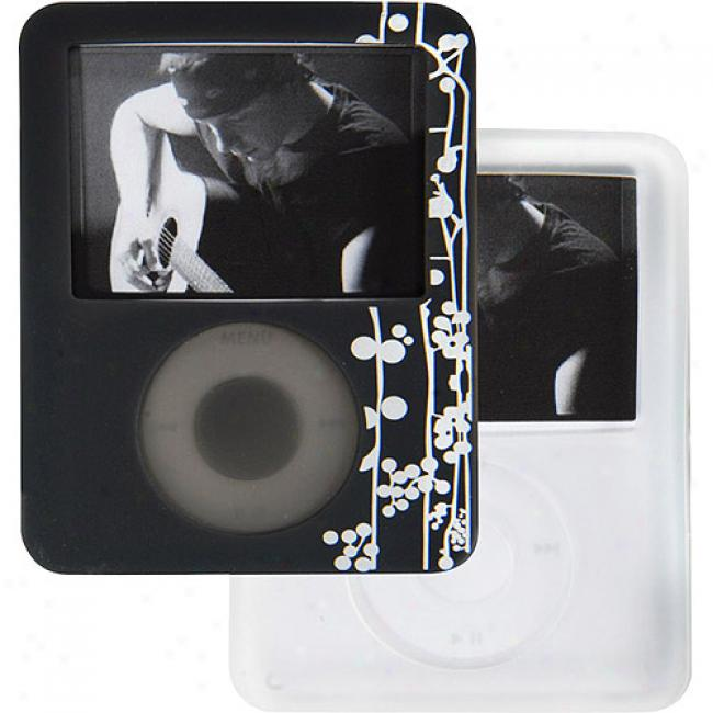 Case Logic Dark Gray With Vine Pattern And Clear Silicone Case Duo Pack For Ipod Nano 3g, Ins-1 Dark Gray