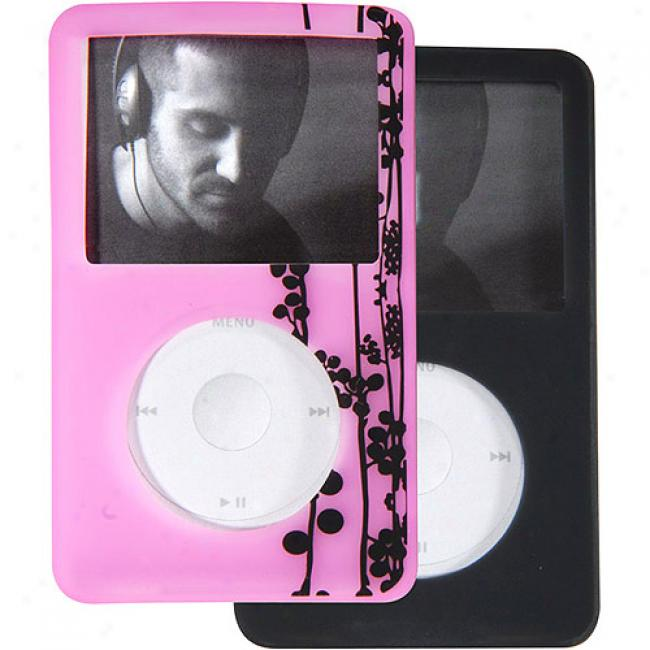 Case Logic Pink With Vine Pattern And Dark Grya Silicone Case 2-pack Fo rIpod 80gb Classic, Ics-1a Pink