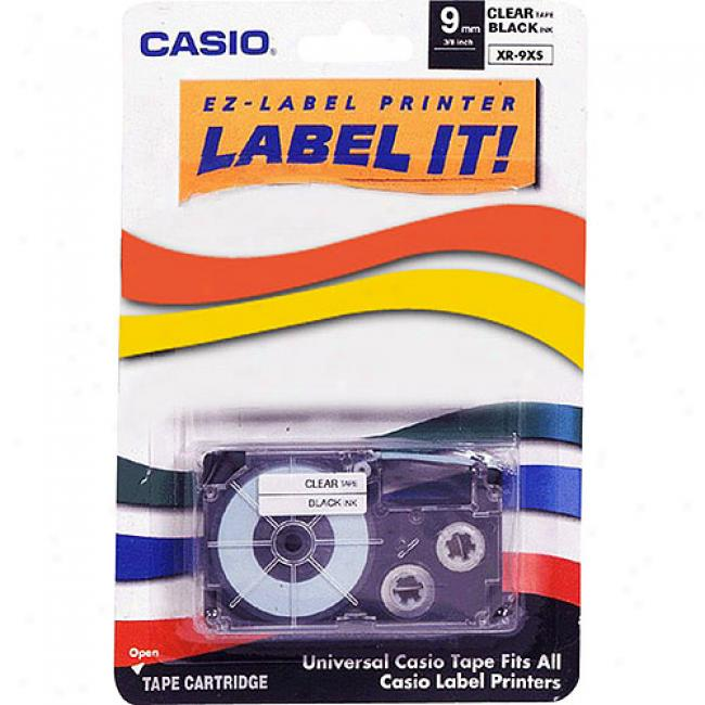 Casio Label Printer Tape For Cwl-300 - 9mm Tape, Black-on-clear