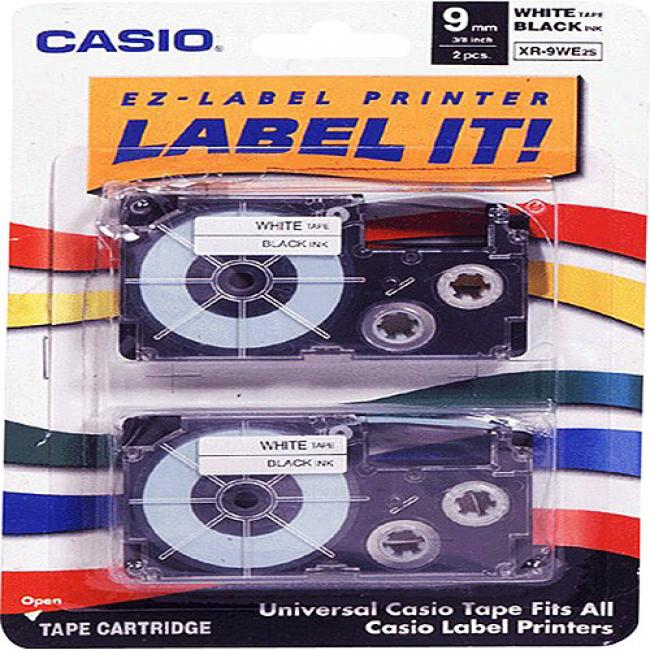 Casio Label Tape For Cwl-300 - 9mm Tape, Black-on-white, 2 Pack