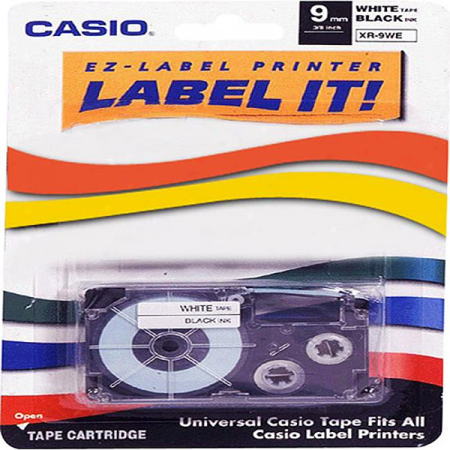 Casio Printer Tape For Cwl-300 - 9mm Tape, Black-on-white