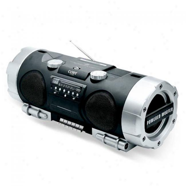 Coby Cd Boombox With Am/fm Tuner, Cassette Deck And Powered Woofer