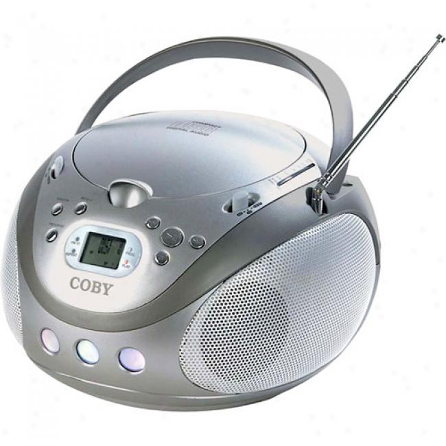 Coby Cd/mp3 Boombox With Am/fm Tuner, Silver