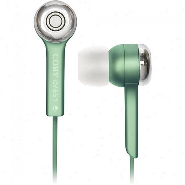 Coby Jammerz Isolation Stereo Headphones - Gren, Cv-e51 Grn